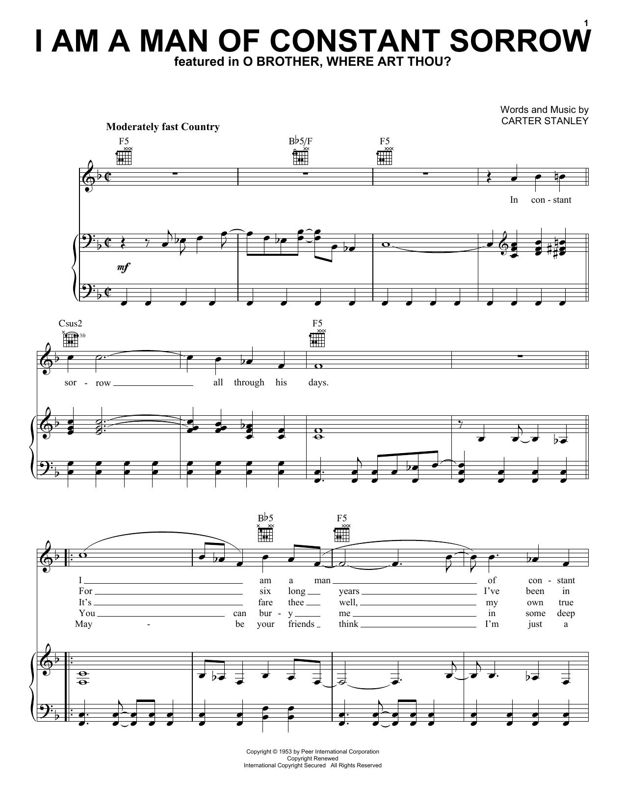 Download The Soggy Bottom Boys I Am A Man Of Constant Sorrow sheet music and printable PDF score & Country music notes