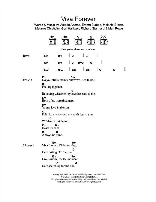 Download The Spice Girls Viva Forever sheet music and printable PDF score & Pop music notes