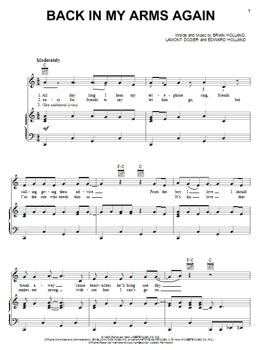 Download The Supremes Back In My Arms Again sheet music and printable PDF score & Rock music notes