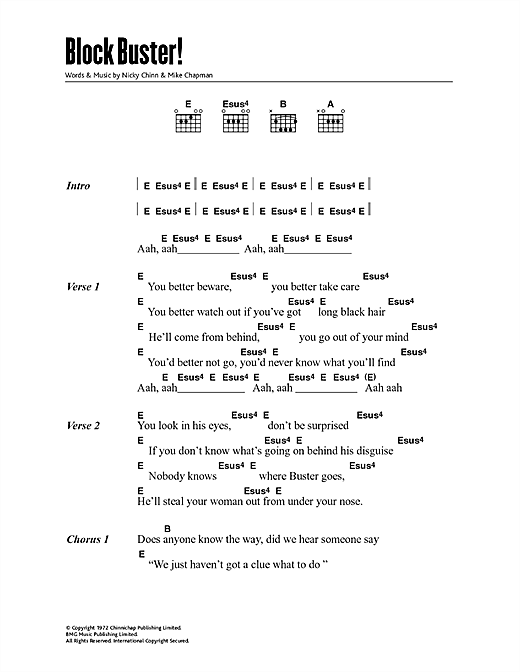 Download The Sweet Blockbuster sheet music and printable PDF score & Rock music notes