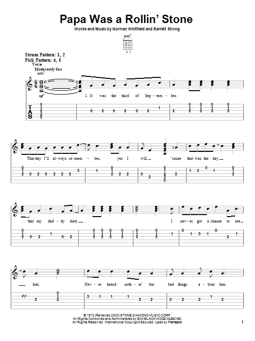 Download The Temptations Papa Was A Rollin' Stone sheet music and printable PDF score & Rock music notes