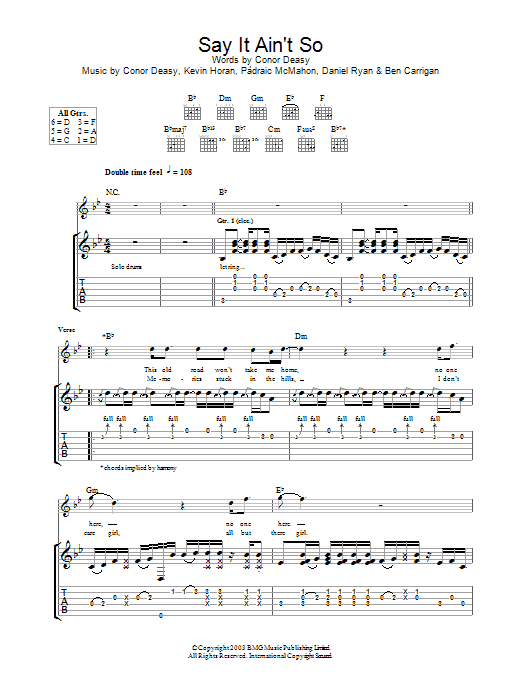 Download The Thrills Say It Ain't So sheet music and printable PDF score & Rock music notes