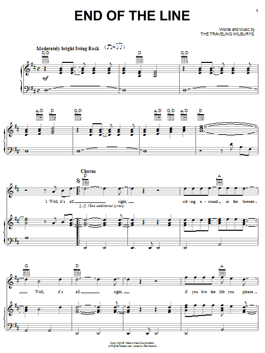 Download The Traveling Wilburys End Of The Line sheet music and printable PDF score & Rock music notes