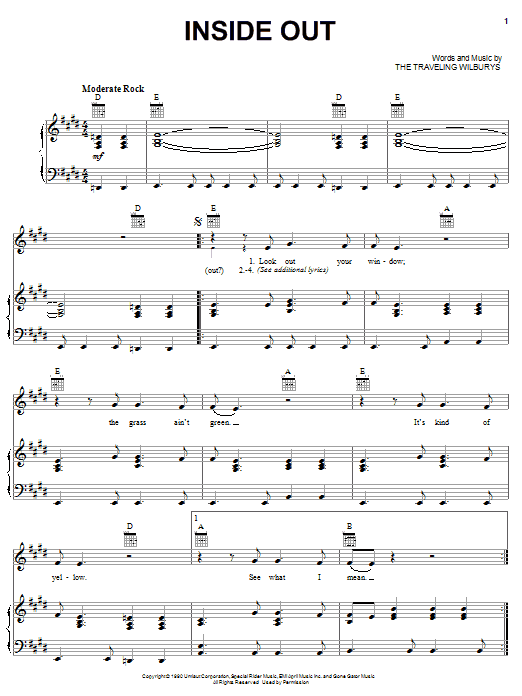 Download The Traveling Wilburys Inside Out sheet music and printable PDF score & Rock music notes