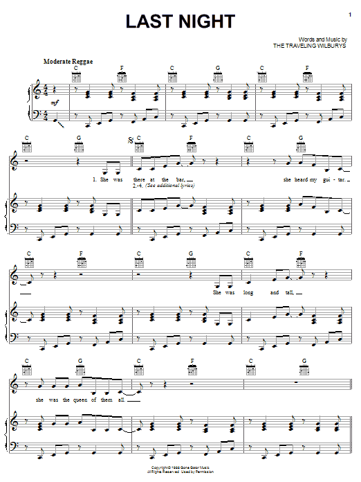 Download The Traveling Wilburys Last Night sheet music and printable PDF score & Rock music notes