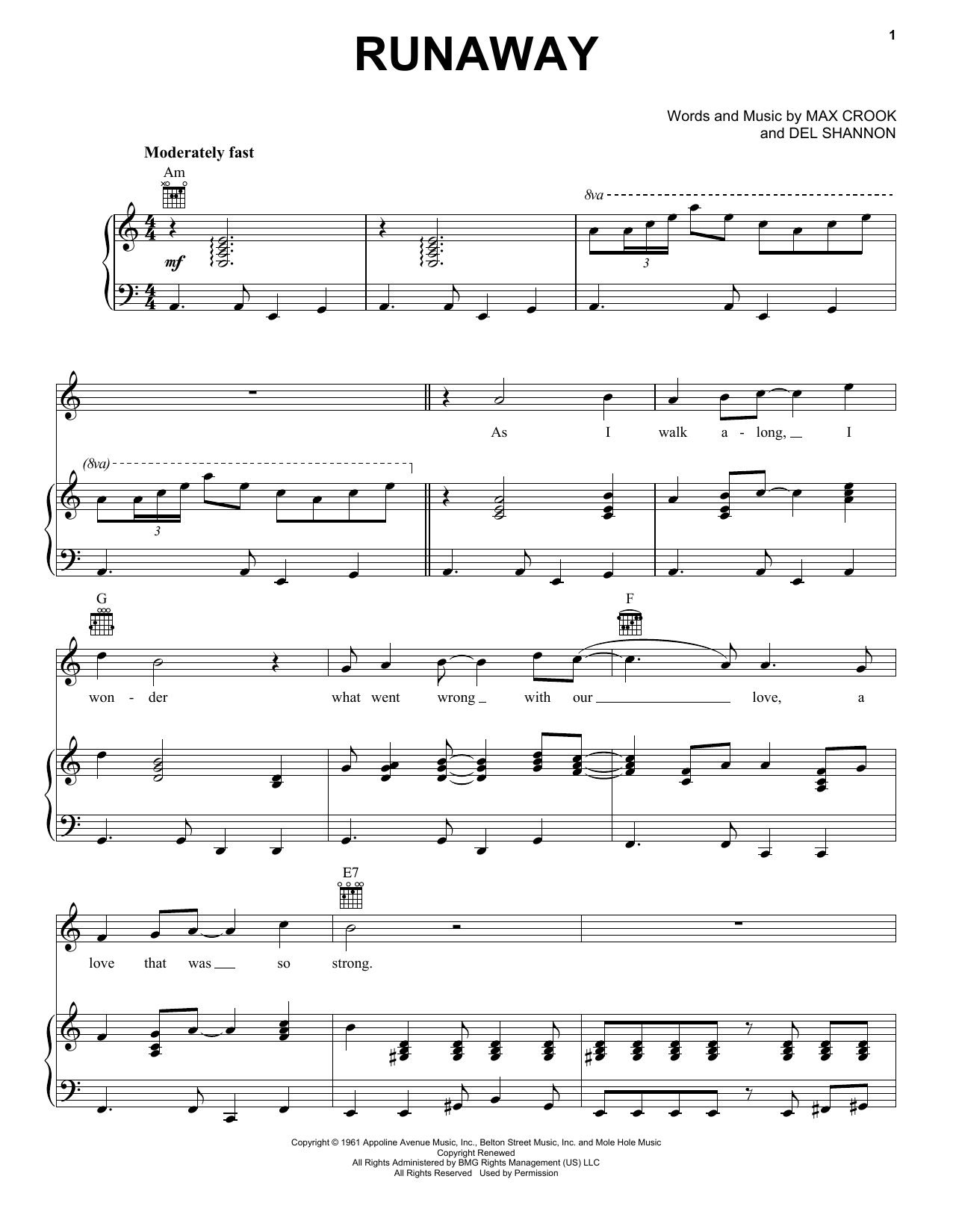 Download The Traveling Wilburys Runaway sheet music and printable PDF score & Rock music notes