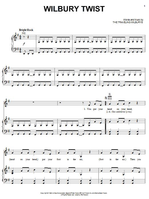 Download The Traveling Wilburys Wilbury Twist sheet music and printable PDF score & Rock music notes