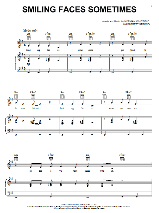 Download The Undisputed Truth Smiling Faces Sometimes sheet music and printable PDF score & Rock music notes