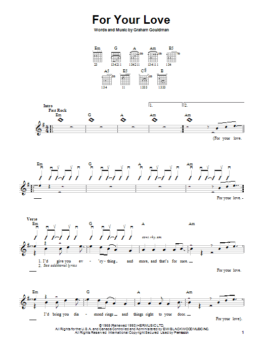Download The Yardbirds For Your Love sheet music and printable PDF score & Rock music notes