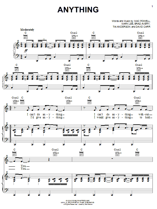 Download Third Day Anything sheet music and printable PDF score & Pop music notes