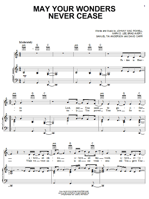 Download Third Day May Wonders Never Cease sheet music and printable PDF score & Pop music notes