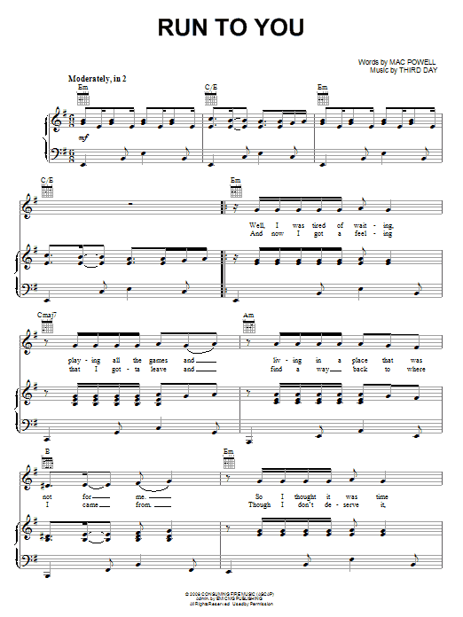 Download Third Day Run To You sheet music and printable PDF score & Pop music notes