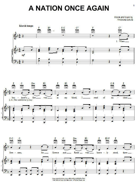 Download Thomas Davis A Nation Once Again sheet music and printable PDF score & World music notes