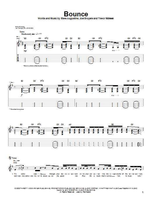 Download Thousand Foot Krutch Bounce sheet music and printable PDF score & Rock music notes