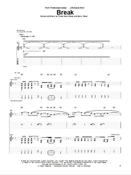 Download Three Days Grace Break sheet music and printable PDF score & Pop music notes