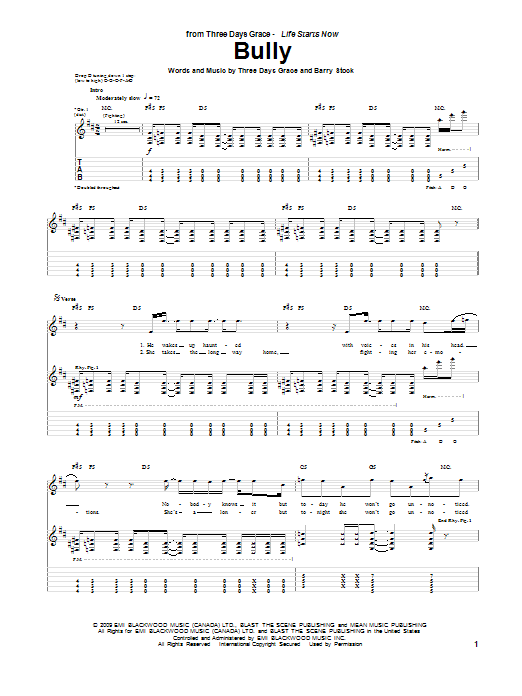 Download Three Days Grace Bully sheet music and printable PDF score & Pop music notes