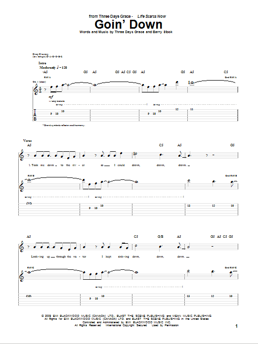 Download Three Days Grace Goin' Down sheet music and printable PDF score & Pop music notes