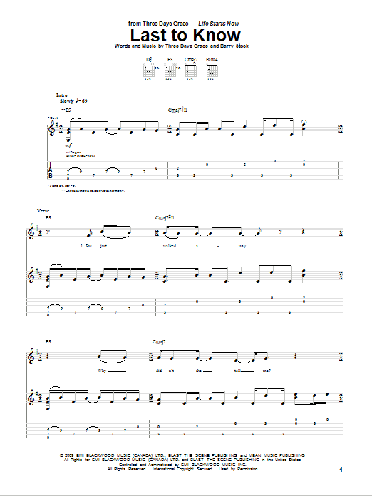Download Three Days Grace Last To Know sheet music and printable PDF score & Pop music notes