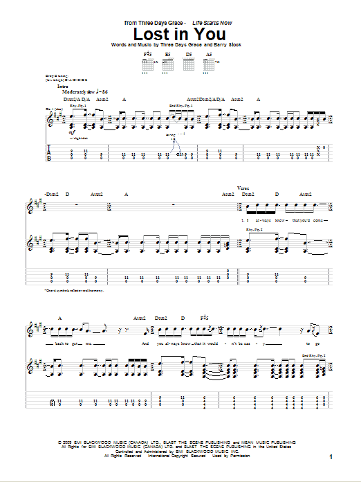 Download Three Days Grace Lost In You sheet music and printable PDF score & Pop music notes