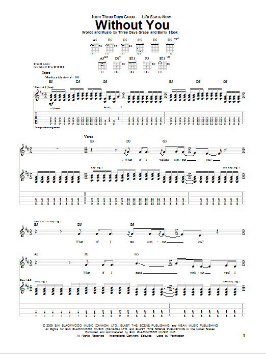Download Three Days Grace Without You sheet music and printable PDF score & Pop music notes