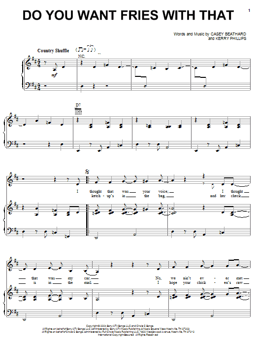 Download Tim McGraw Do You Want Fries With That sheet music and printable PDF score & Pop music notes
