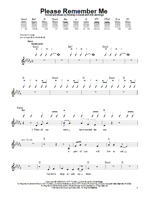 Download Tim McGraw Please Remember Me sheet music and printable PDF score & Pop music notes