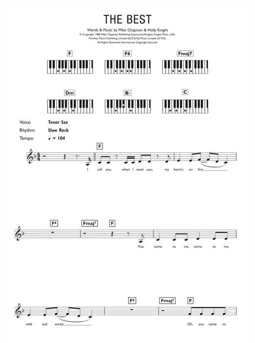 Tina Turner Simply The Best Sheet Music Download Printable Rock Pdf Keyboard Abridged Score Sku 47487
