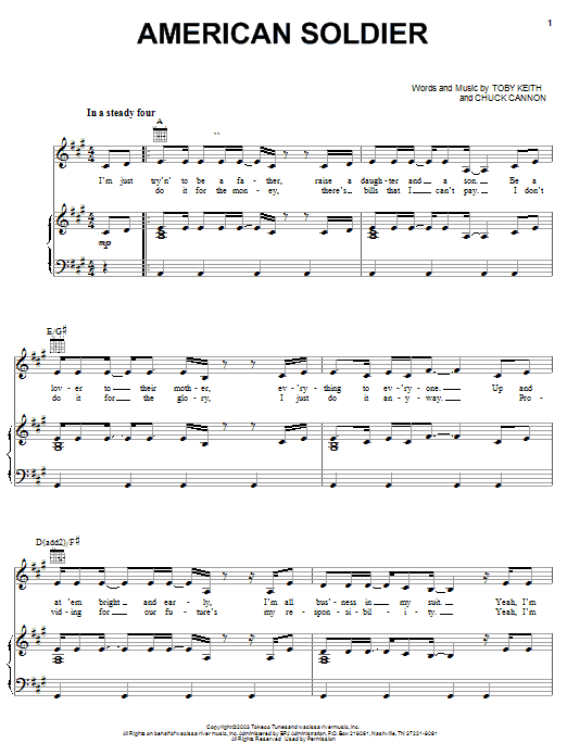 Download Toby Keith American Soldier sheet music and printable PDF score & Pop music notes