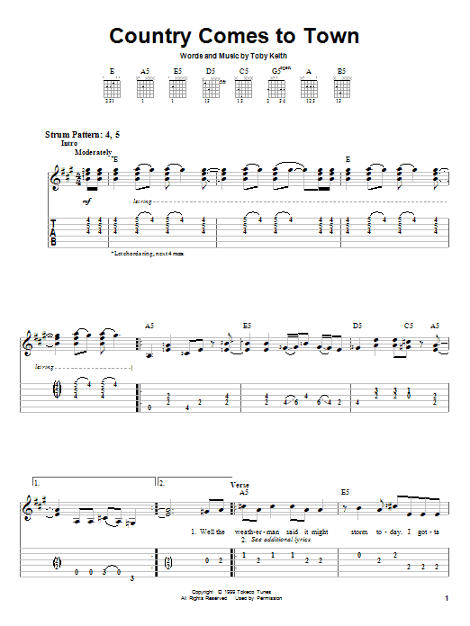 Download Toby Keith Country Comes To Town sheet music and printable PDF score & Pop music notes