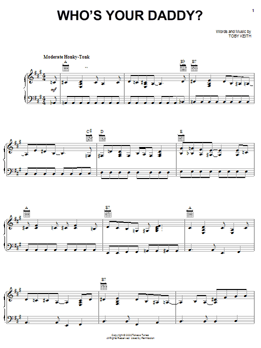 Download Toby Keith Who's Your Daddy? sheet music and printable PDF score & Country music notes