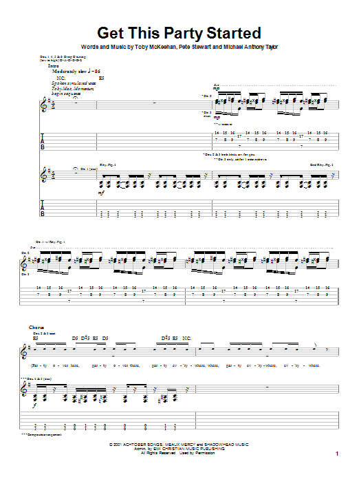Download tobyMac Get This Party Started sheet music and printable PDF score & Rock music notes
