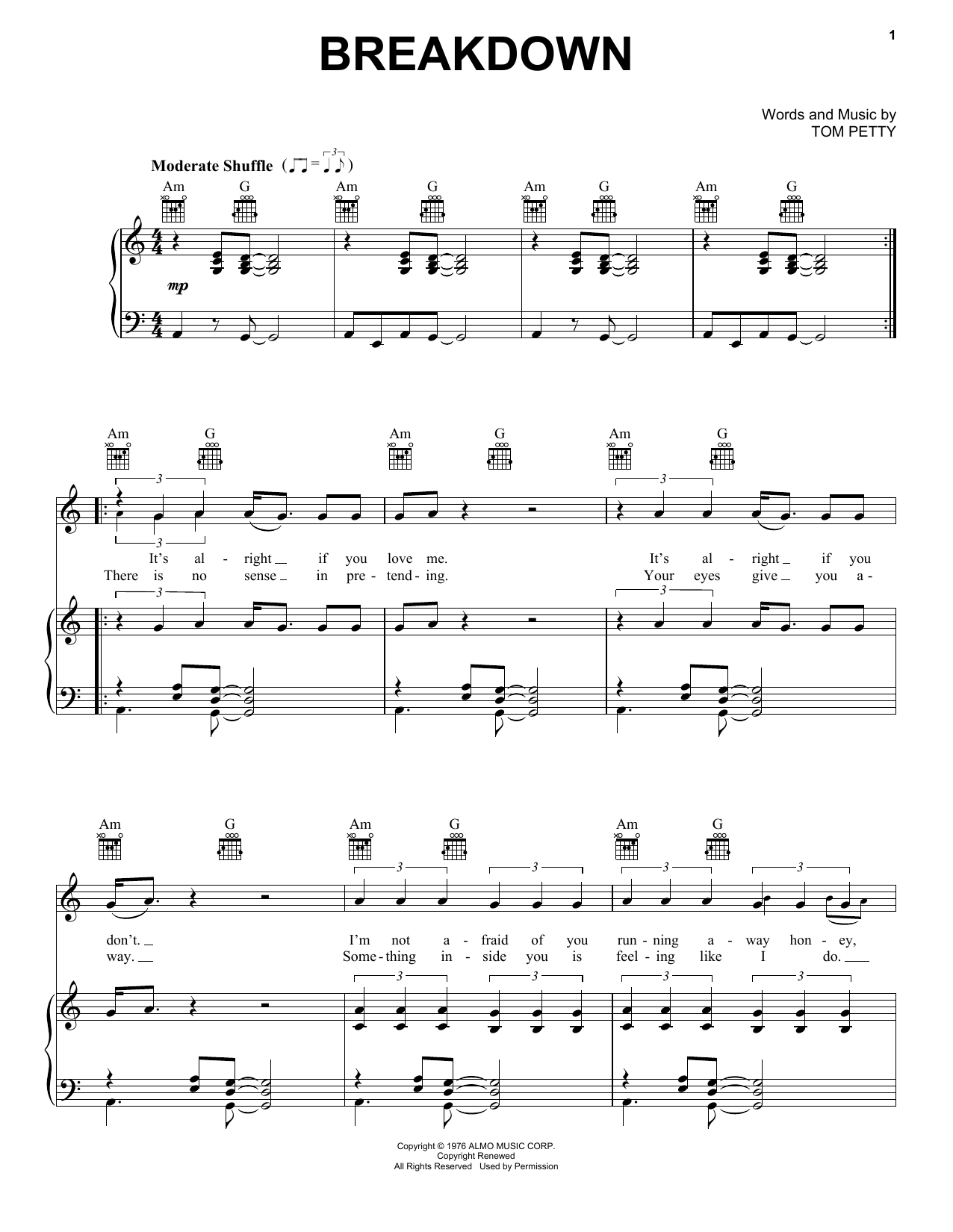 Download Tom Petty And The Heartbreakers Breakdown sheet music and printable PDF score & Rock music notes