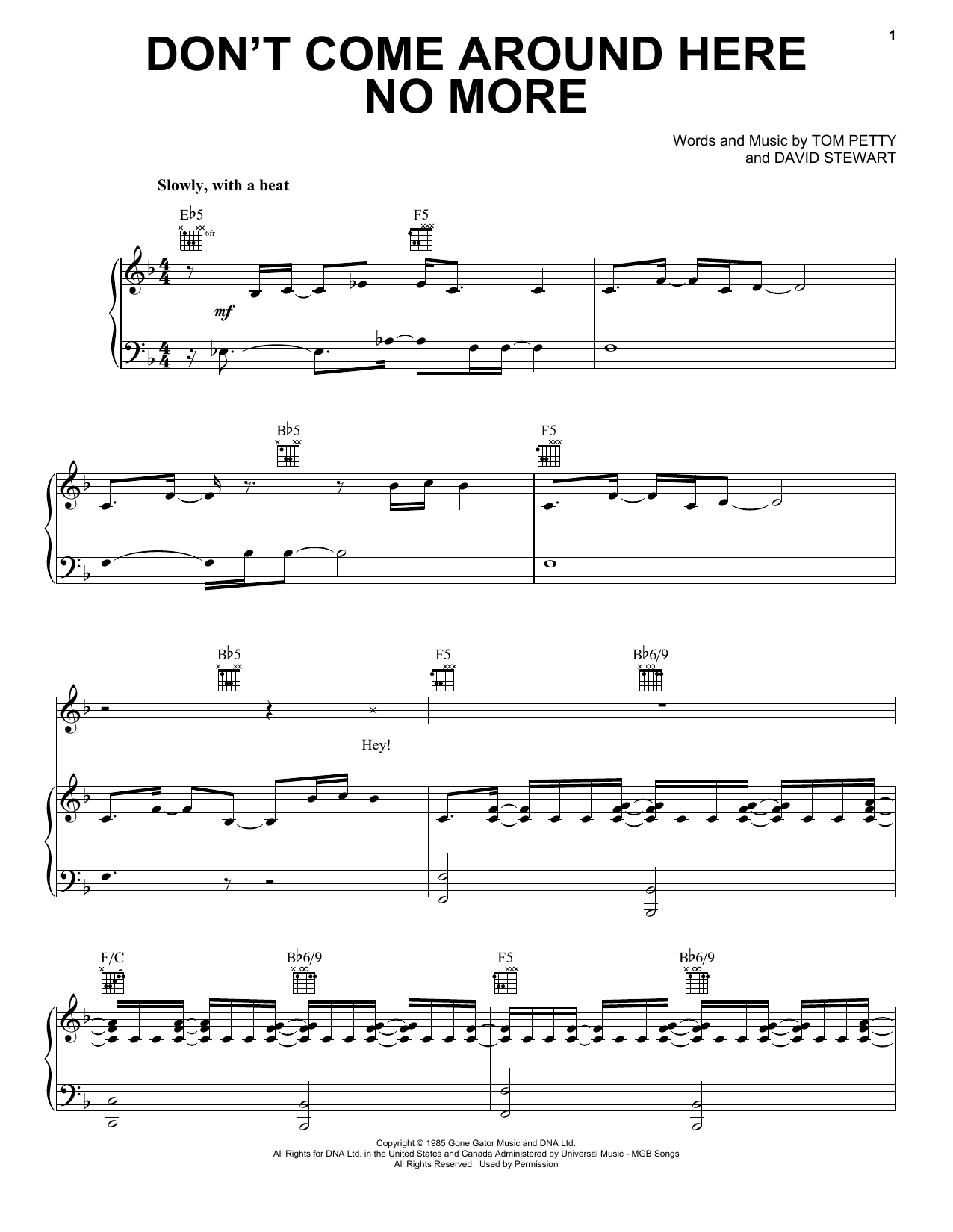 Download Tom Petty And The Heartbreakers Don't Come Around Here No More sheet music and printable PDF score & Rock music notes