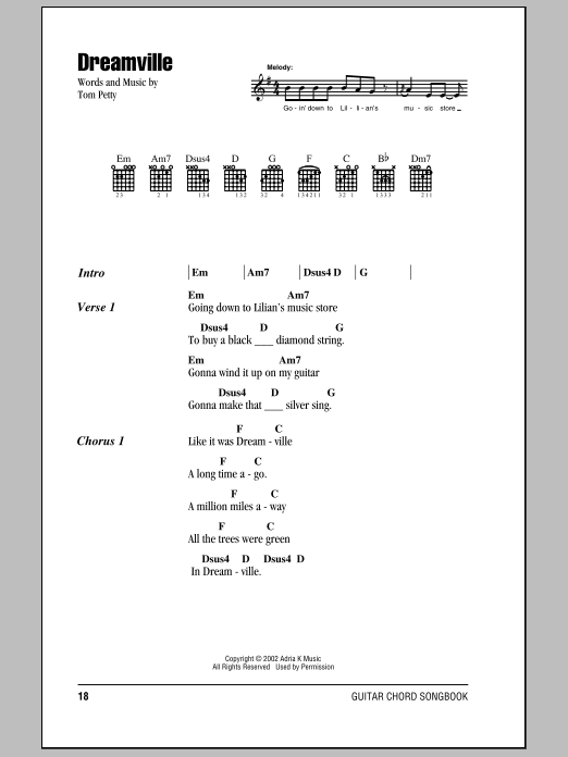 Download Tom Petty And The Heartbreakers Dreamville sheet music and printable PDF score & Rock music notes