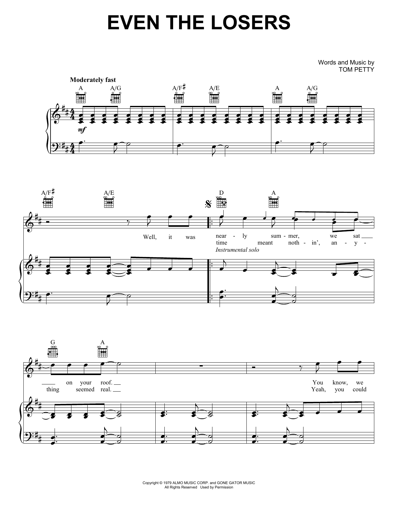Download Tom Petty And The Heartbreakers Even The Losers sheet music and printable PDF score & Rock music notes