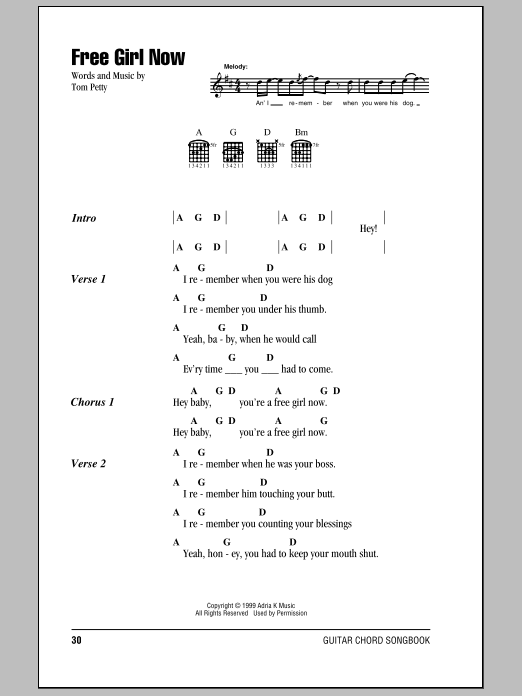 Download Tom Petty And The Heartbreakers Free Girl Now sheet music and printable PDF score & Rock music notes