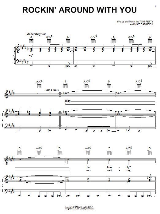 Download Tom Petty And The Heartbreakers Rockin' Around With You sheet music and printable PDF score & Rock music notes