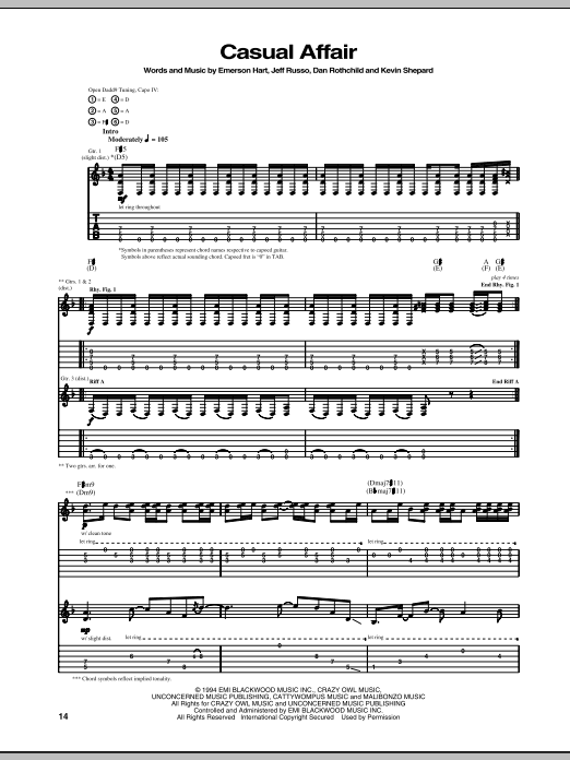 Download Tonic Casual Affair sheet music and printable PDF score & Pop music notes