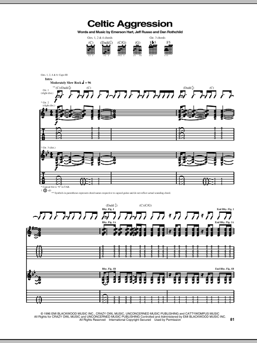 Download Tonic Celtic Aggression sheet music and printable PDF score & Pop music notes