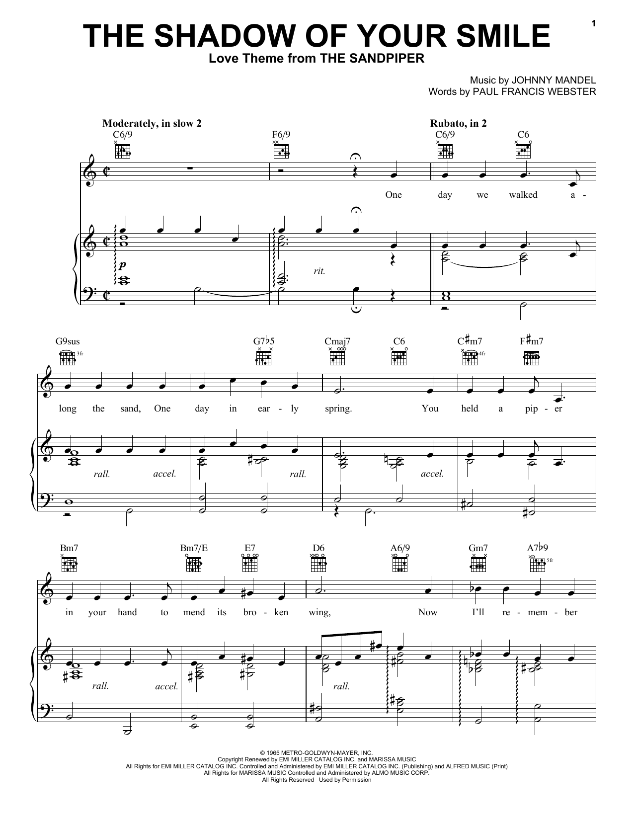 Download Tony Bennett The Shadow Of Your Smile sheet music and printable PDF score & Jazz music notes