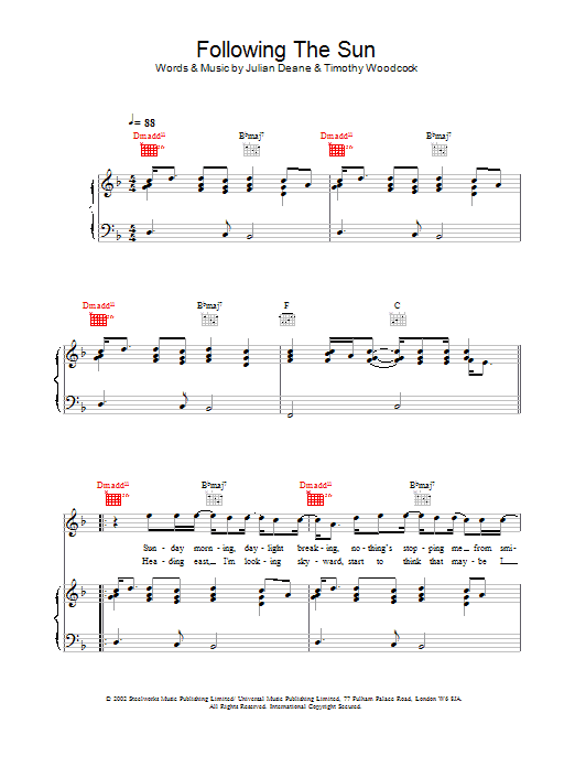 Download Toploader Following The Sun sheet music and printable PDF score & Rock music notes