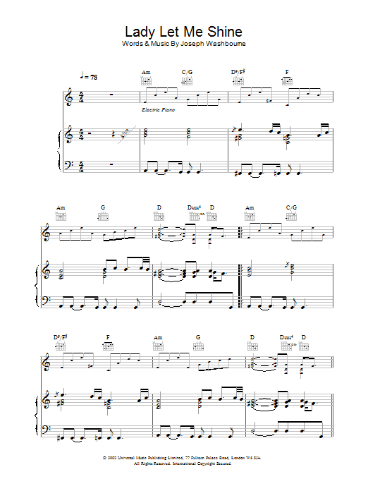 Download Toploader Lady Let Me Shine sheet music and printable PDF score & Rock music notes