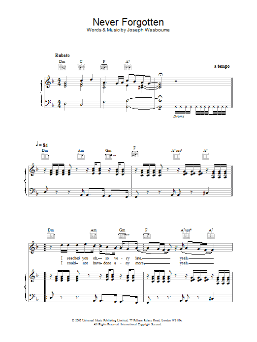 Download Toploader Never Forgotten sheet music and printable PDF score & Rock music notes