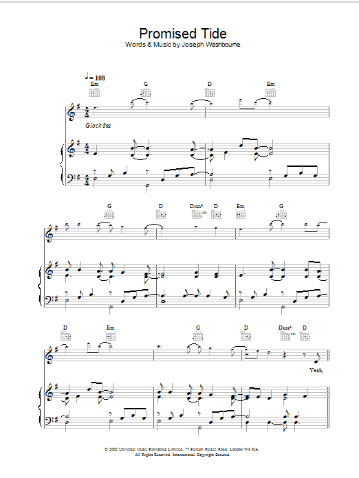 Download Toploader Promised Tide sheet music and printable PDF score & Rock music notes