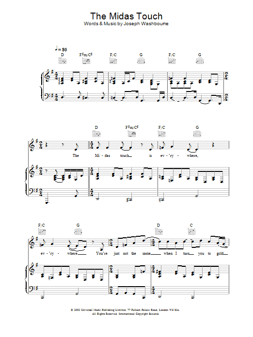 Download Toploader The Midas Touch sheet music and printable PDF score & Rock music notes
