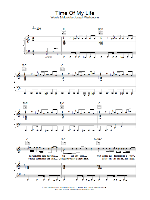 Download Toploader Time Of My Life sheet music and printable PDF score & Rock music notes