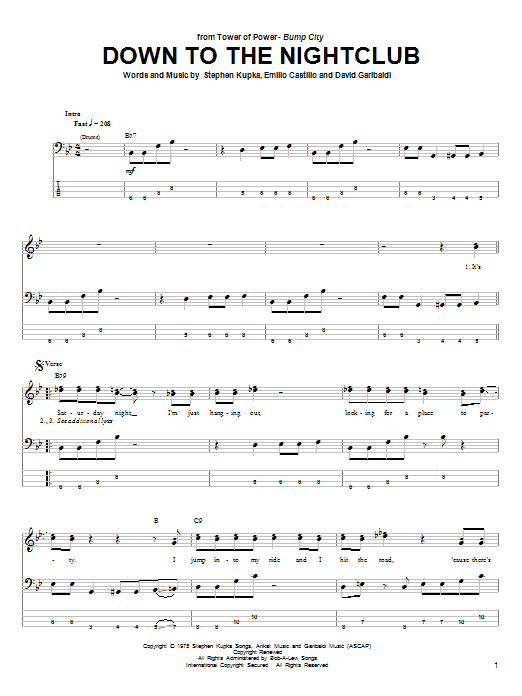 Download Tower Of Power Down To The Nightclub sheet music and printable PDF score & Pop music notes