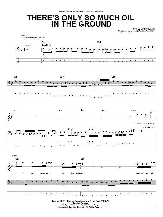 Download Tower Of Power There's Only So Much Oil In The Ground sheet music and printable PDF score & Pop music notes