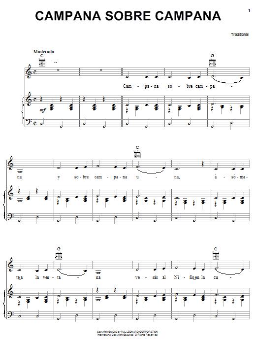 Download Traditional Carol Campana Sobre Campana sheet music and printable PDF score & World music notes