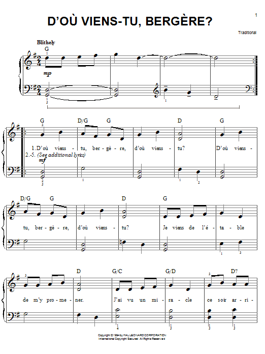 Download Traditional D'ou Viens-Tu, Beregere? sheet music and printable PDF score & Christmas music notes